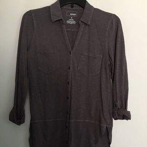 Somona Button Up Jersey Top Gray - Small